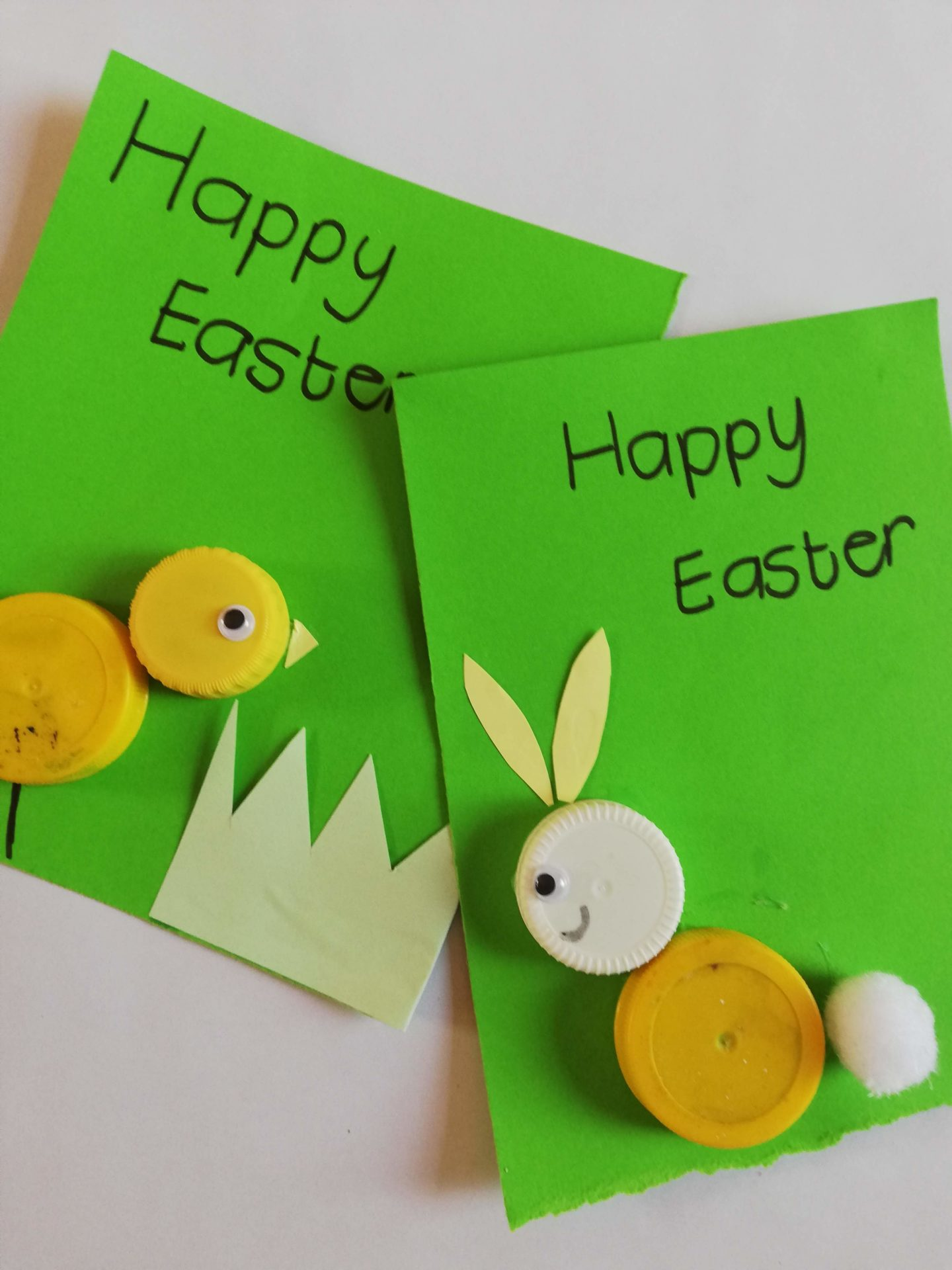 Easter Cards Using Bottle Caps