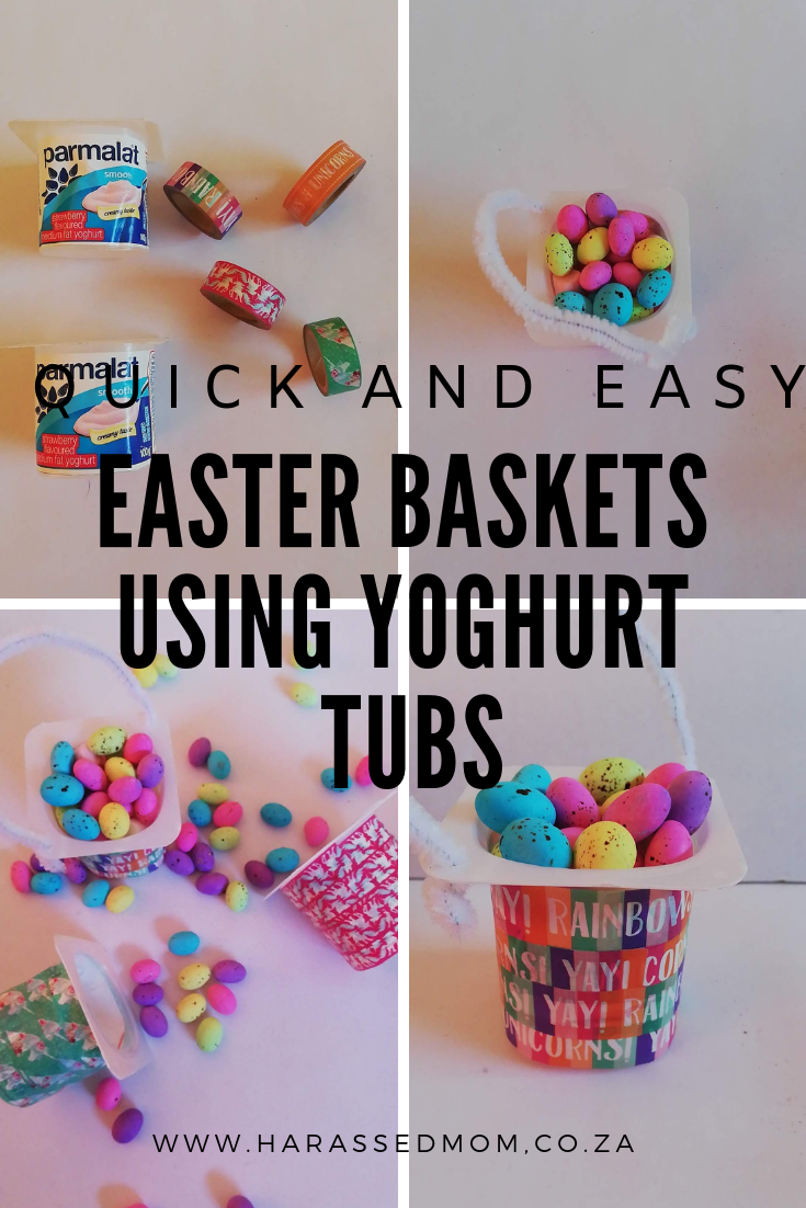 Quick and easy Easter baskets using yoghurt tubs. Such an easy craft for Easter | HarassedMom